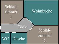 Grundriss-Skizze Ferienwohnung Landhaus Altweck