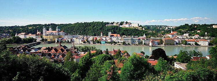 Dreiflüssestadt Passau im Bayerischen Wald